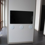 A really cool feature: a flat screen TV embedded in a movable wall