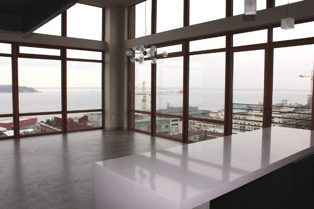 Unobstructed Puget Sound views from penthouse unit at Volta Apartments on 1st and Bell
