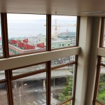 View of Belltown, Alaskan Way Viaduct from the stairs going up to the roof deck