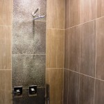Shower stall in the northeast-facing penthouse unit