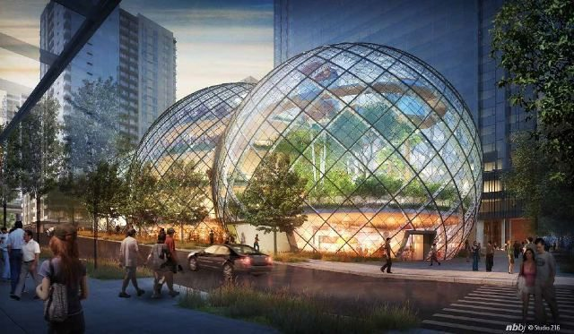 Amazon's proposal for an office building composed of three glass globes, as designed by NBBJ