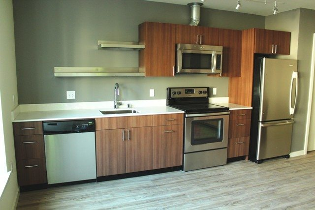 Kitchen in an open one bedroom unit