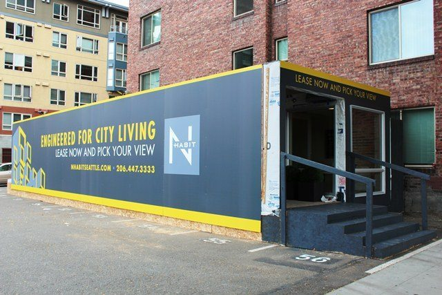 A modular unit and temporary leasing office for N Habit, near 3rd Ave and Blanchard in Belltown.