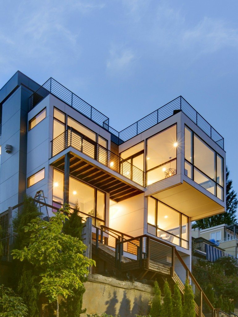 415 Lakeside Ave S Exterior Elemental Designed Home Perched Above the Lake