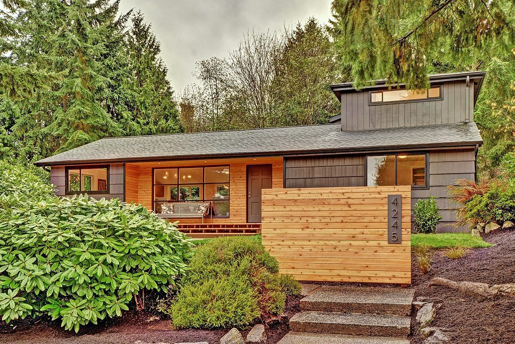 4245 NE 88th St exterior Re Modeled Wedgwood Mid Century   BEFORE & AFTER