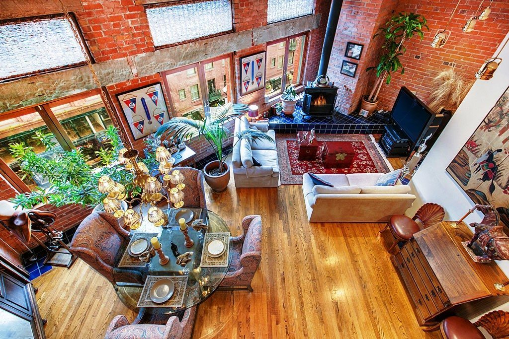 606 Post Ave Unit 401 Living Room Pioneer Square Loft with 22 Ceilings