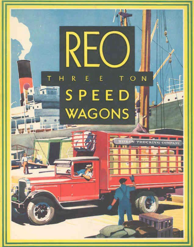 REO 3 Ton Speed Wagon Truck Brochure A Look at REO Flats Mural